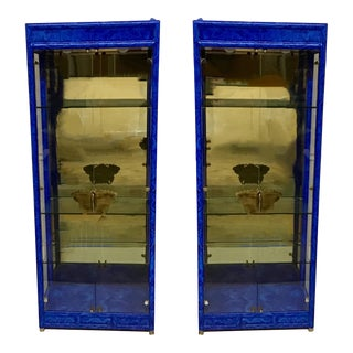 Pair of Faux Lapis Modern Cabinets For Sale