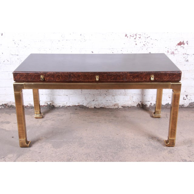 Asian Mastercraft Hollywood Regency Chinoiserie Faux Tortoise Shell and Brass Writing Desk For Sale - Image 3 of 13
