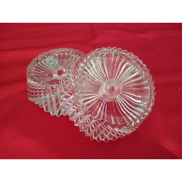 Art Deco Vintage Cut Glass Candleholders - a Pair For Sale - Image 3 of 7