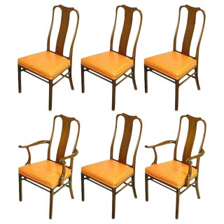 Six Walnut and Tooled Leather Splat-Back Dining Chairs For Sale