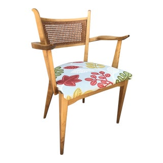 1950s Swedish Edmond Spence Birch and Caning Arm Chair