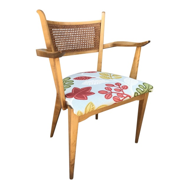 1950s Swedish Edmond Spence Birch and Caning Arm Chair For Sale