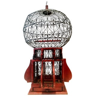 20th Century Victorian Style Wood and Iron Bird Cage For Sale
