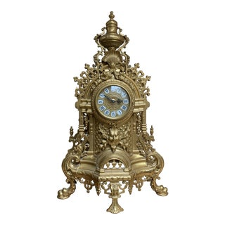 Louis XVI Style Brass Mantle Clock For Sale