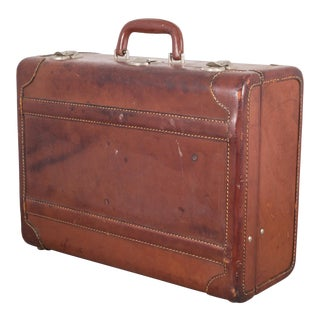 Monogrammed Small Leather Luggage C.1940 For Sale