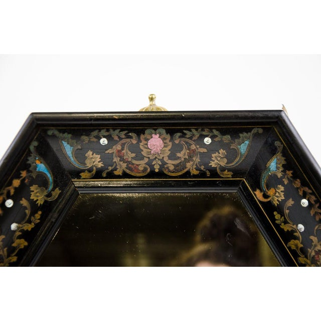 Italian Italian Style Painted and Brass Inlaid Hexagonal Wall Mirror For Sale - Image 3 of 12