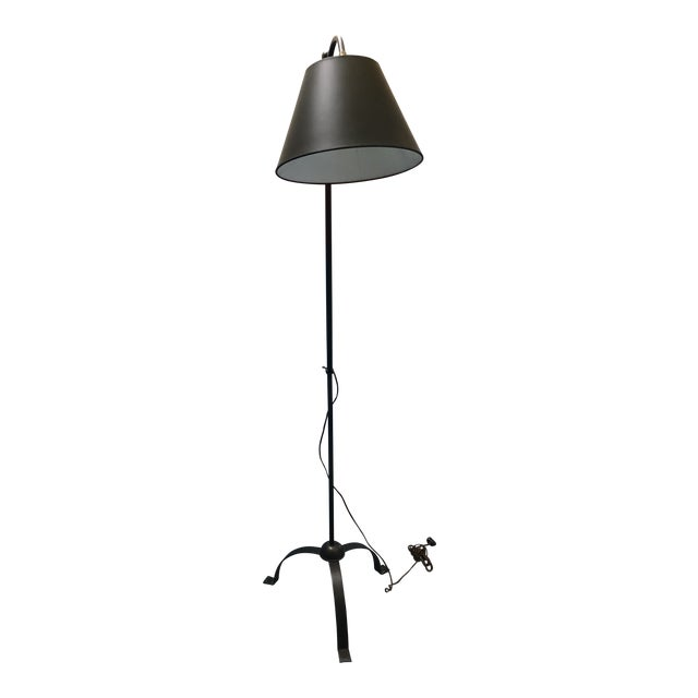Antique Blackened Iron Standing Lamp For Sale