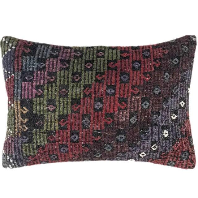 "Mid-Century Modern XL Jewel Tone Kilim Lumbar Pillow   16"" X 24"" For Sale - Image 3 of 3"