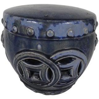 19th Century Blue Ceramic Garden Seat For Sale
