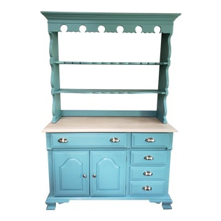 Refinished Vintage Turquoise China Hutch