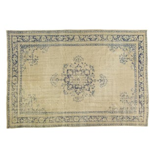 "Vintage Distressed Oushak Carpet - 6'5"" X 9'3"" For Sale"
