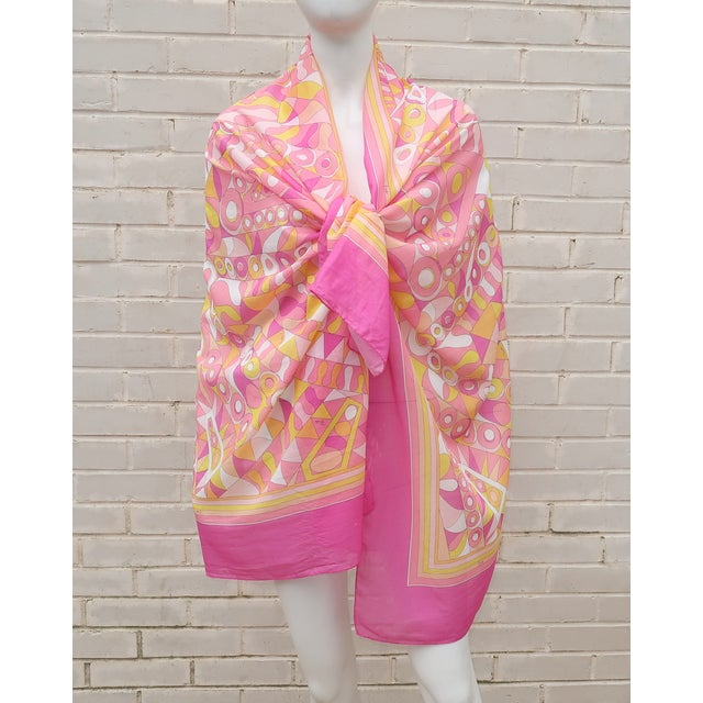 Pucci Large Emilio Pucci Cotton Sarong Length Scarf For Sale - Image 4 of 12