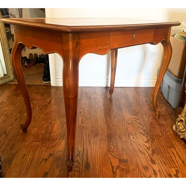 French Vintage Louis XV Style Cherry Wood Italian Writing Desk For Sale - Image 3 of 13