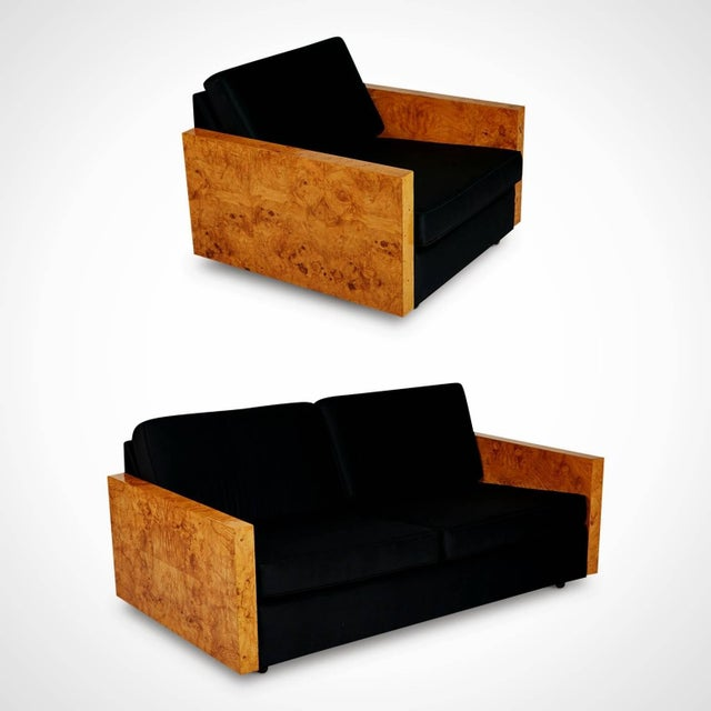 Contemporary 1970s Vintage Burl Wood Case Sofa and Lounge Chair by Milo Baughman For Sale - Image 3 of 11