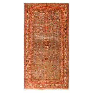 1920s Vintage Khotan Geometric Floral Accented Wool Rug - 5′10″ × 11′1″ For Sale