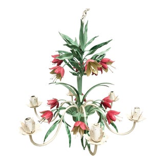 Tole 6-Arm Fritillaria Chandelier For Sale