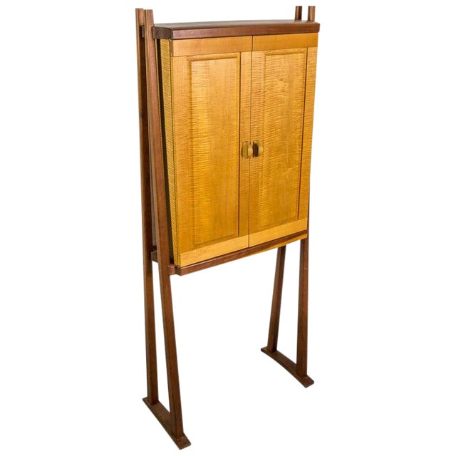 Tall Studio Cabinet in Wood by an American Craftsman For Sale