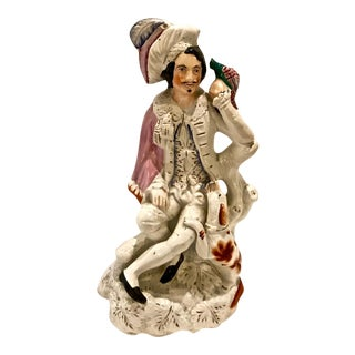 19th Century Staffordshire Falconeer With Dog Figure For Sale