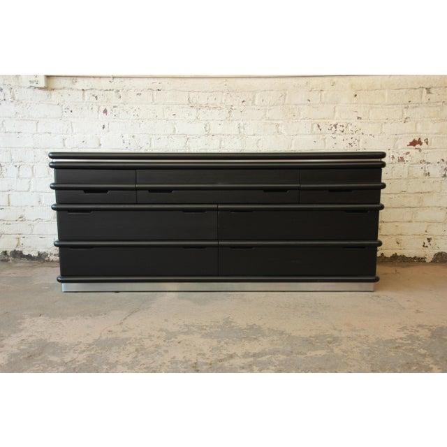 Vintage Jay Spectre for Century Furniture Cerused Oak & Chrome Dresser - Image 3 of 11
