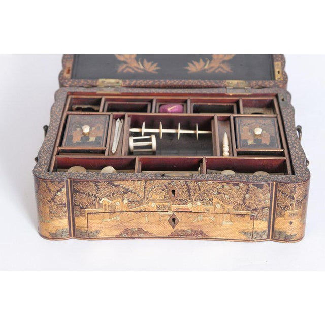 19th Century Chinese Export Chinoiserie Lacquer Sewing Box For Sale - Image 10 of 13