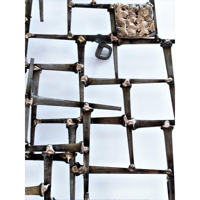 Abstract Nail & Bronze Wall Jere Style Sculpture For Sale - Image 11 of 12