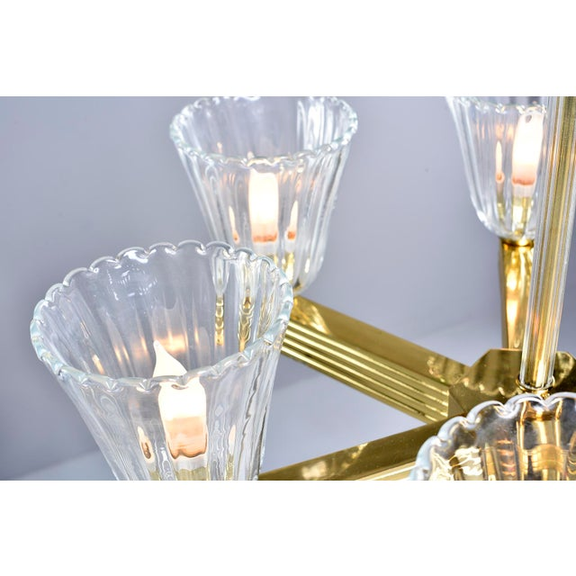 Gold Ercole Barovier and Toso Six Light Brass Chandeliers - a Pair For Sale - Image 8 of 13