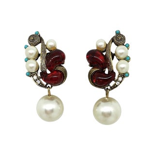Molded Glass & Faux-Pearl Earrings For Sale