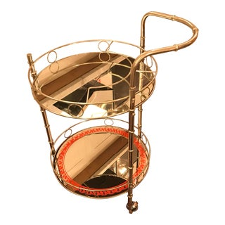Restored, Round 2-Tier Chrome Bar Cart, Vintage For Sale