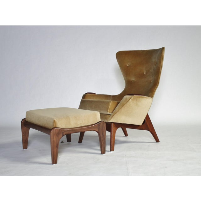 Adrian Pearsall Wing Chair for Craft Associates Model 2231-C and Ottoman For Sale - Image 10 of 11