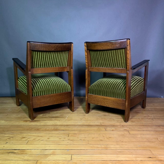 1940s Pair 1940s Wenge Wood Armchairs, Corduroy & Rosewood For Sale - Image 5 of 11