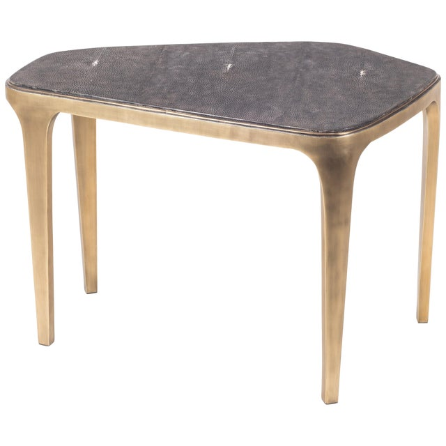 Cosmos Nesting Coffee Table Black Shagreen & Bronze-Patina Brass by R&y Augousti For Sale