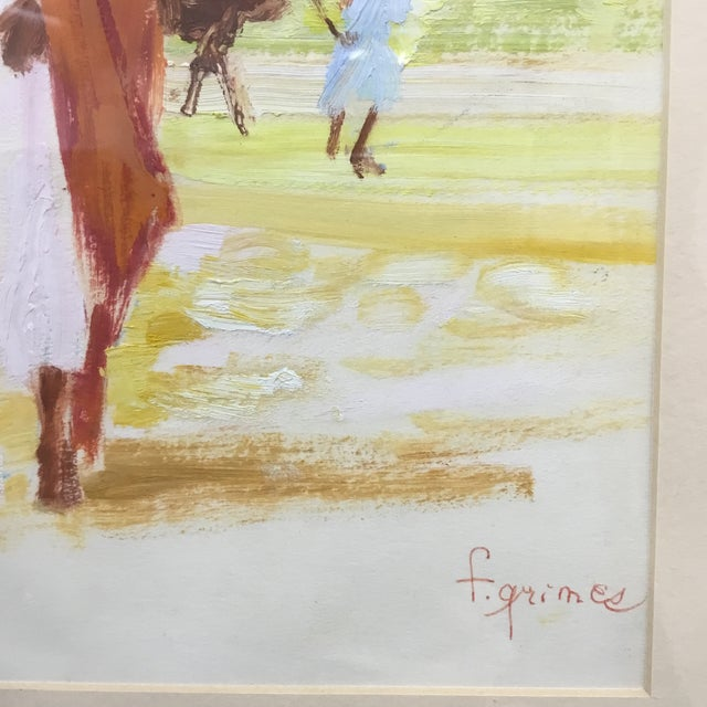 Early 20th Century Early 20th Century Vintage Impressionism Oil Painting on Paper by F. Grimes For Sale - Image 5 of 10