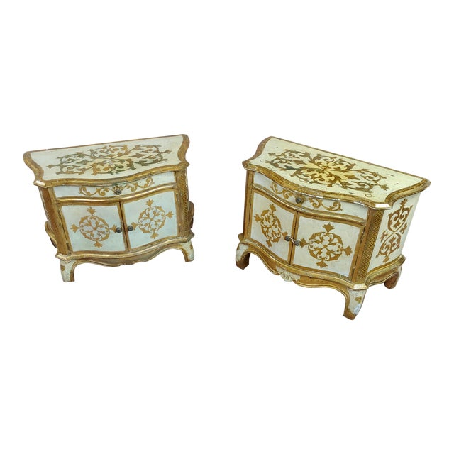 Image of Antique Italian Florentine Small Gilt-Wood Commodes -A Pair