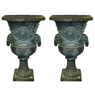 Vintage Bronze Rams Head Planters - a Pair