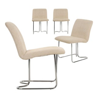 Circa 1970s Design Institute America Chromed Steel Dining Chairs - Set of 4
