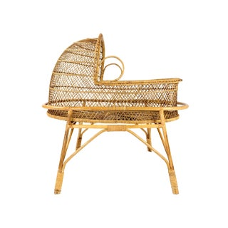 Vintage 1970s Boho Chic Wicker + Rattan Bassinet For Sale