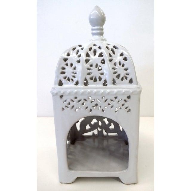 Marrakesh-Style White Ceramic Candleholder - Image 2 of 7