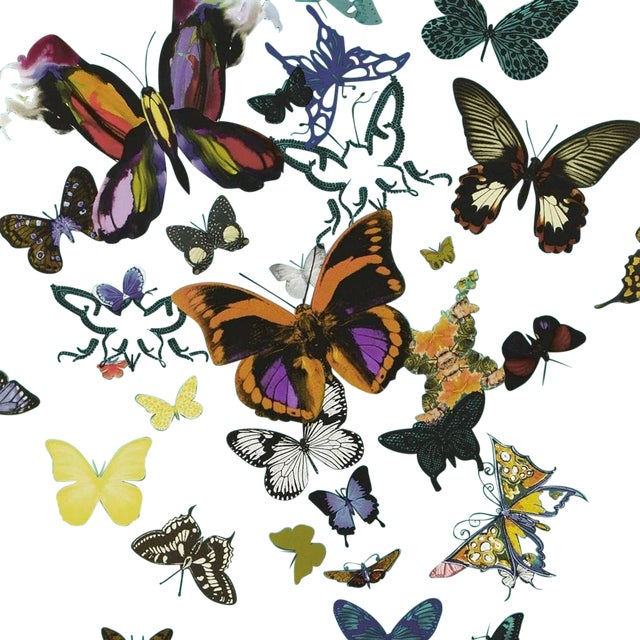 An airborne parade of butterflies from the stylised to the photographic makes for a stunningly expressive printed...