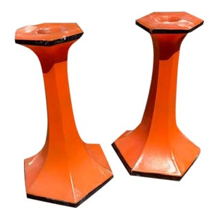 Mid-Century Hand-Painted Glass Candlesticks - A Pair For Sale