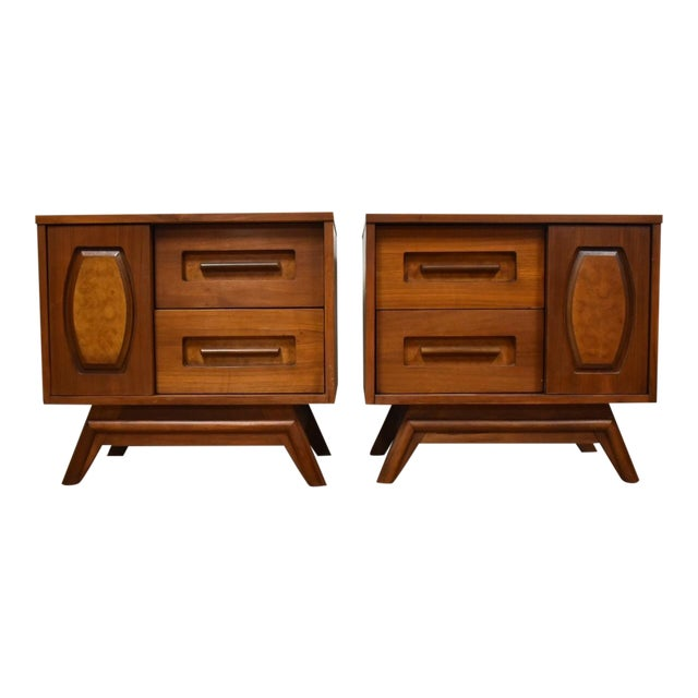 Young Walnut Nightstands - Pair - Image 1 of 10