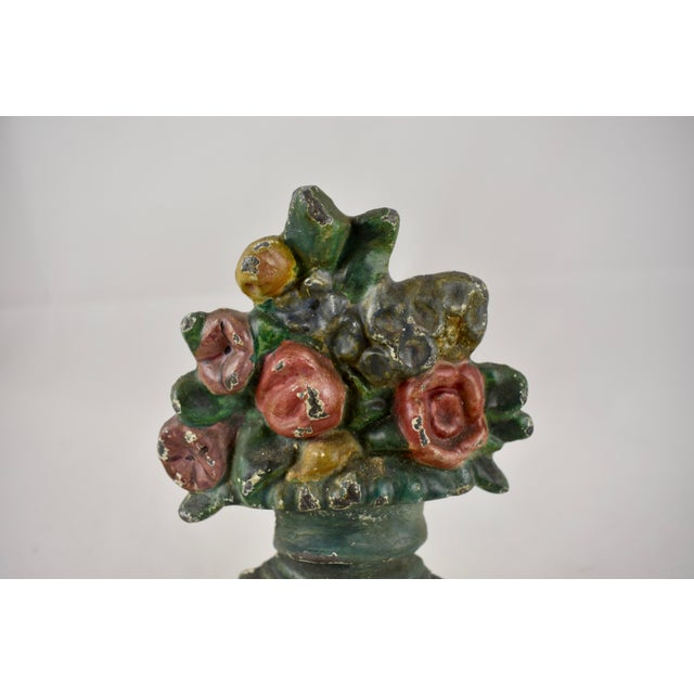 Metal Hubley 1930s Cast Iron Petite Floral Green Urn Doorstop For Sale - Image 7 of 10
