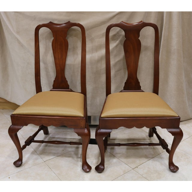 Henkel Harris Wild Black Cherry Queen Anne Side Chairs A Pair For Image