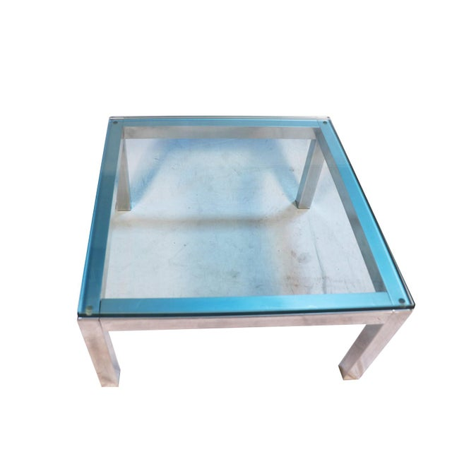 1960s Mid Century Modern Chrome & Glass Coffee Table Milo Baughman Style For Sale - Image 5 of 11