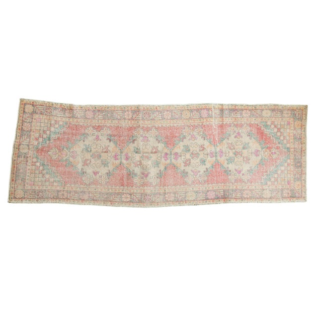 "Vintage Distressed Oushak Rug Runner - 3'5"" X 9'5"" For Sale - Image 11 of 11"