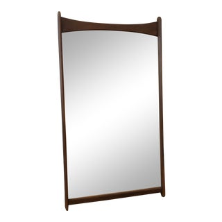 Vintage Mid-Century Wooden Wall-Mounted Mirror For Sale