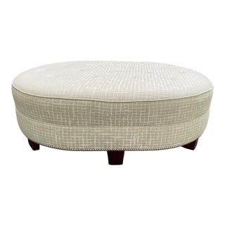 Large Oval Upholstered Ottoman For Sale