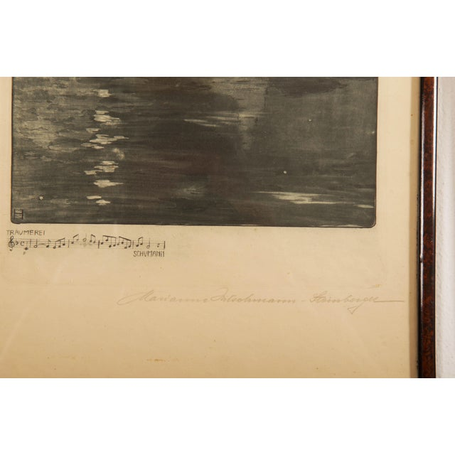 Marianne Hitschmann-Steinberger Etching from about 1900. Wood frame with glass front. Dimensions H 13.39 in. x W 10.63 in....