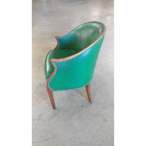 Vintage Baker Furniture Green Leather Library Chairs - A Pair For Sale - Image 10 of 10