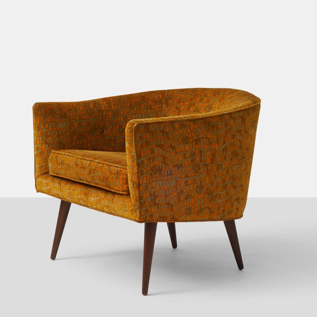 Milo Baughman- Lounge Chair. A Milo Baughman tub chair for Thayer Coggin in the original Jack Lenor Larsen velvet fabric....