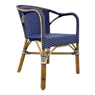 Modern Blue and White Vinyl Bamboo Arm Chair For Sale